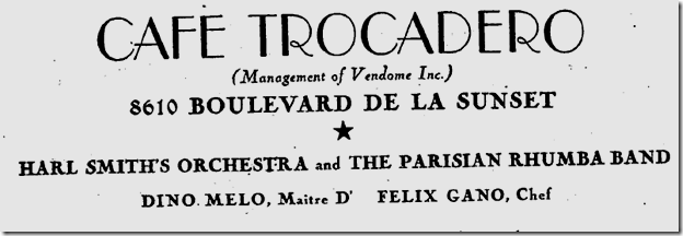 Sept. 20, 1934, Club Trocadero