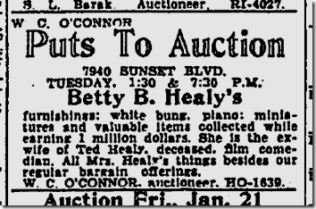 Jan. 16, 1938, Ted Healy Auction