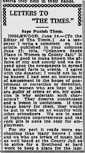 June 21, 1928, No Piano in Jail!