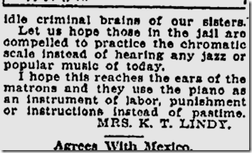 June 28, 1921, No Piano in Jail!