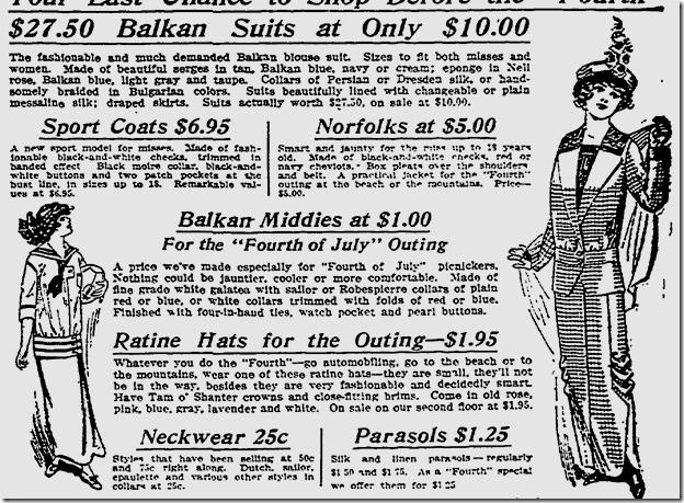 July 3, 1913, Fashions