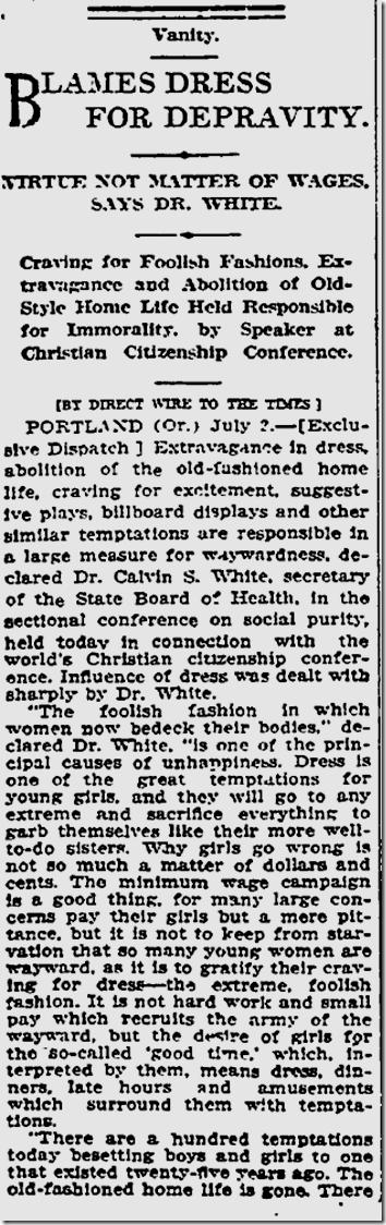 July 3, 1913, Our wayward generation
