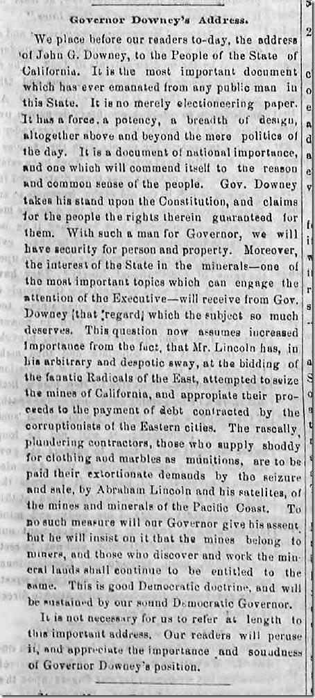 Aug. 1, 1863, Downey Speech
