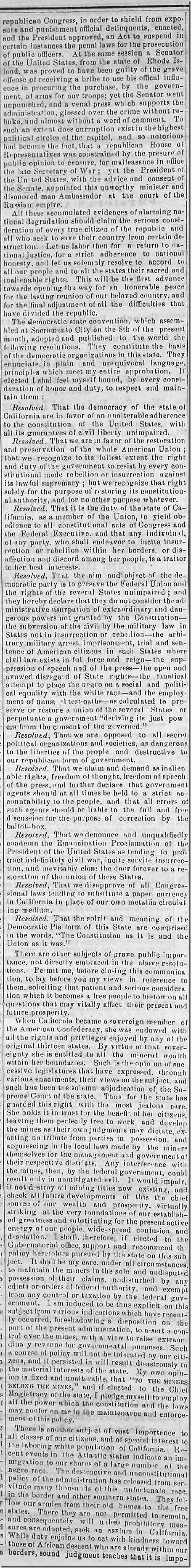 Aug. 1, 1863, Downey Campaign Speech