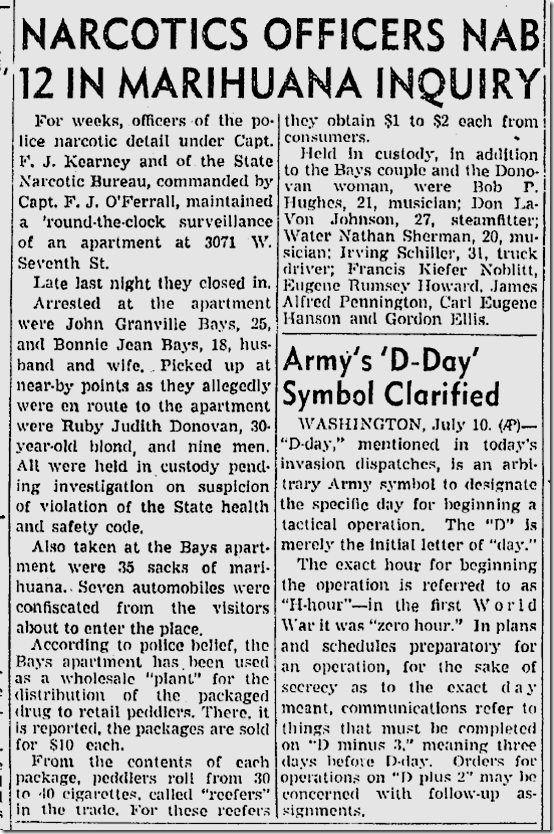 July 11, 1943, Marijuana Ring