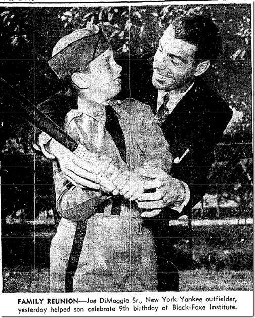 Oct. 24, 1950, DiMaggio at Black-Foxe