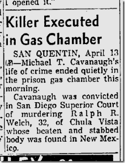 April 14, 1956, Cavanaugh Executed