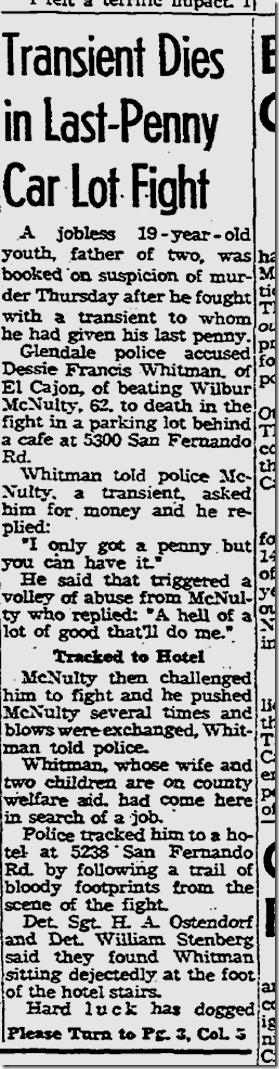 July 12, 1963, Homeless Man Dies in Fight
