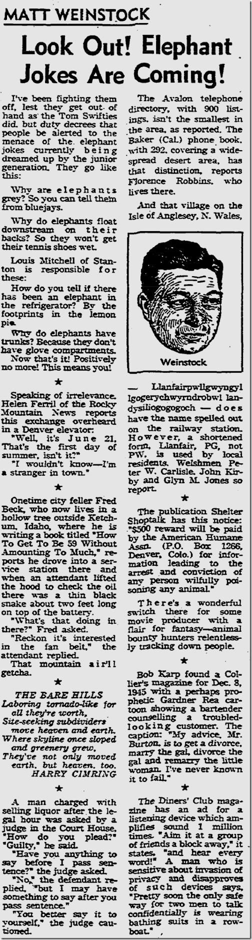 July 12, 1963, Matt Weinstock