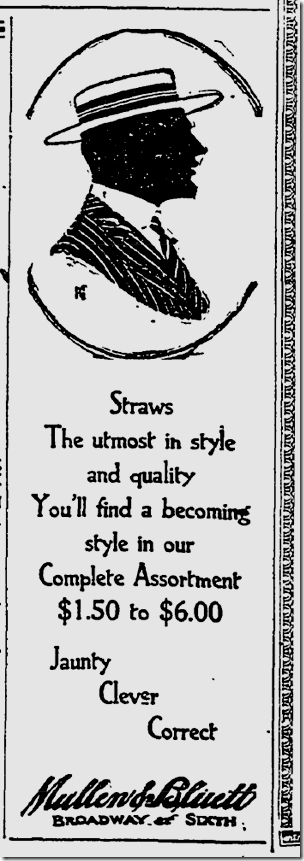 July 10, 1913, Hats at Mullen and Bluett
