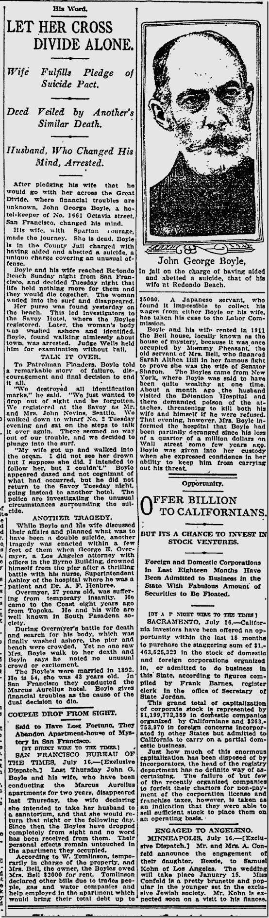 July 17, 1913, Suicide