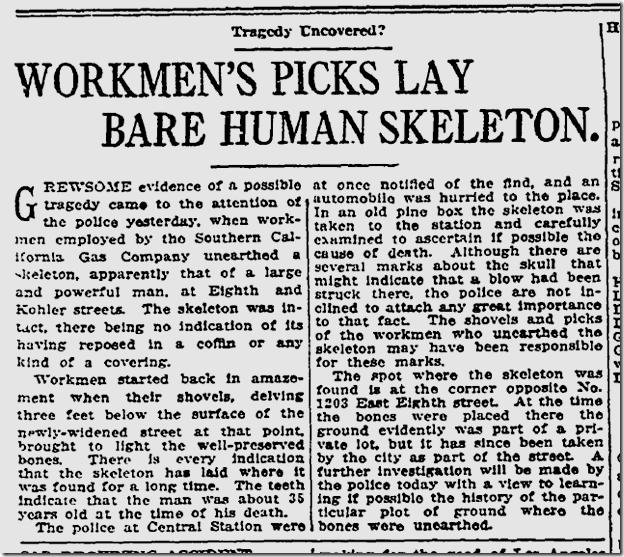 July 10, 1913, Skeleton Found