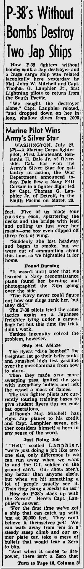 July 24, 1943, P-38 Pilots