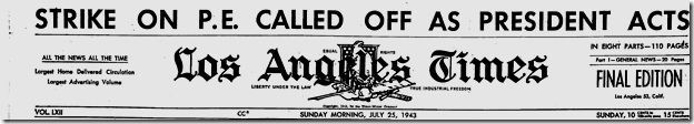 July 25, 1943, Streetcar Strike Averted