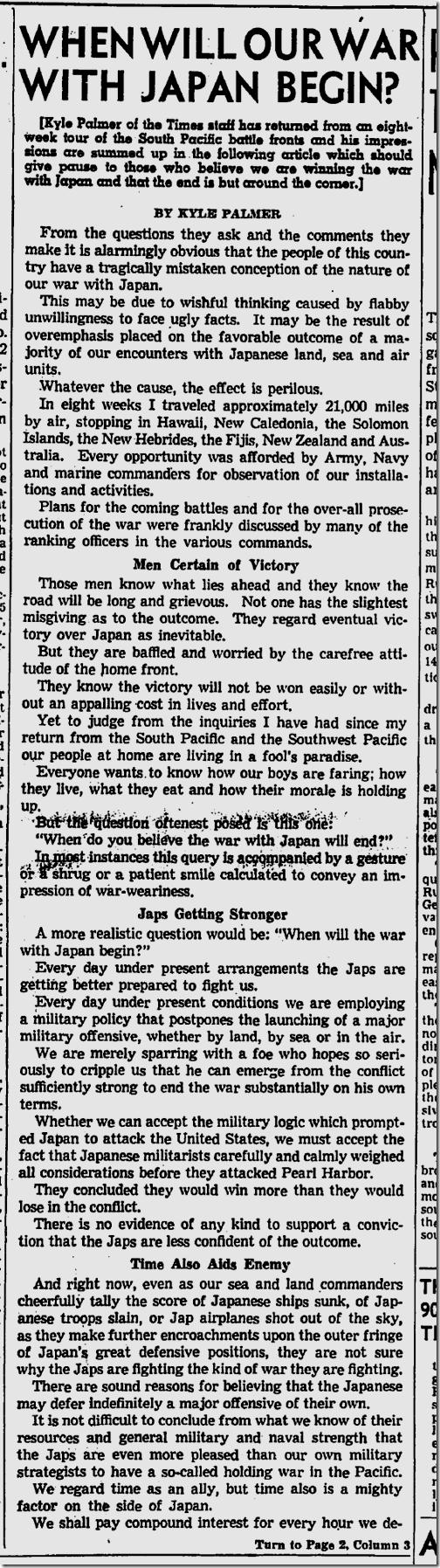 July 25, 1943, Kyle Palmer