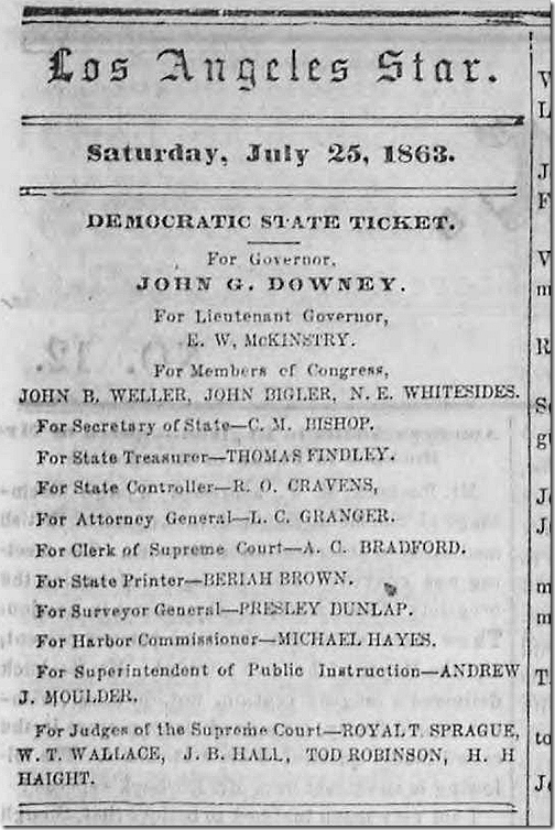 July 25, 1863, Political Endorsements