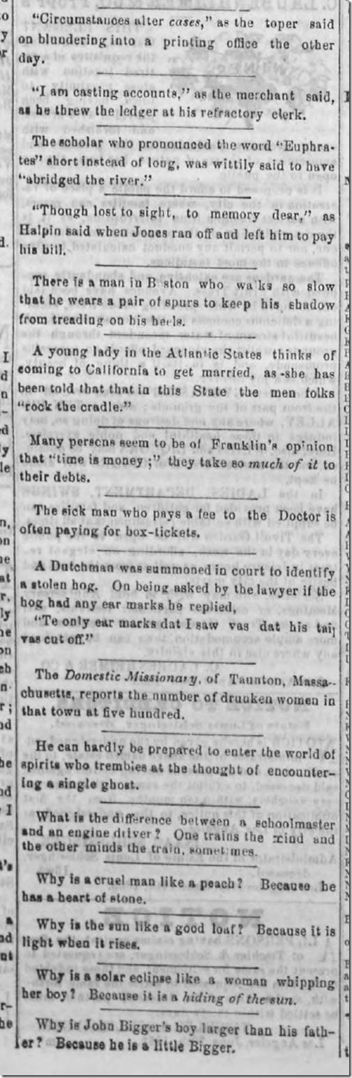 July 25, 1863, Humor