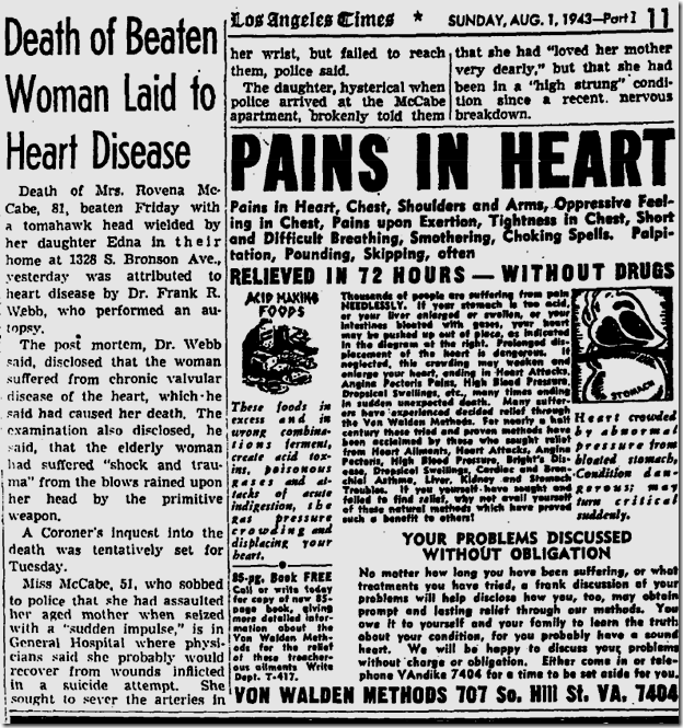 Aug. 1, 1943, Tomahawk Murder