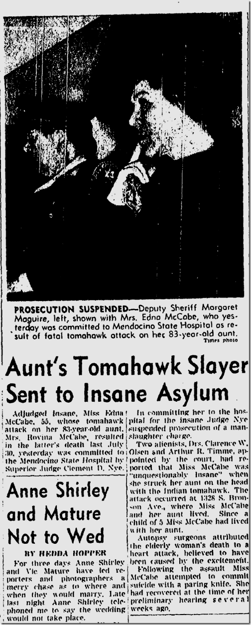 Oct. 30, 1943, Tomahawk Murder