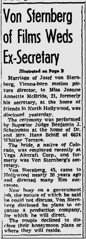 July 31, 1943, Josef von Sternberg Marries