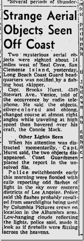 Aug. 1, 1953, Mysterious Aerial Objects