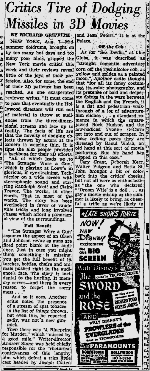 Aug. 8, 1953, 3-D Movies