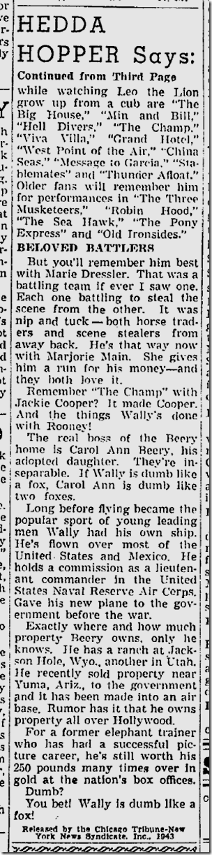 Sept. 5, 1943, Wallace Beery