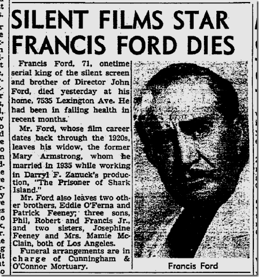 Sept. 6, 1953, Francis Ford Dies