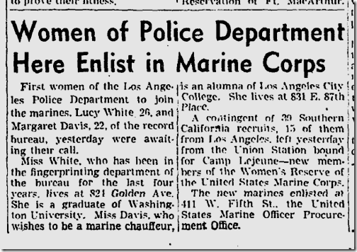 Aug. 21, 1943, LAPD Women Join Marines