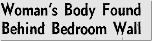 Sept. 13, 1963, Body Hidden in Wall