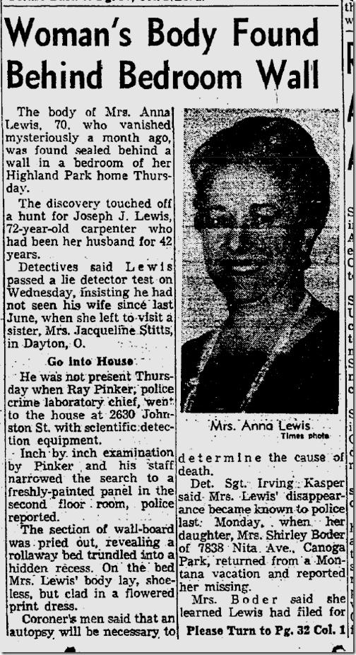 Sept. 13, 1963, Body Hidden in Wall