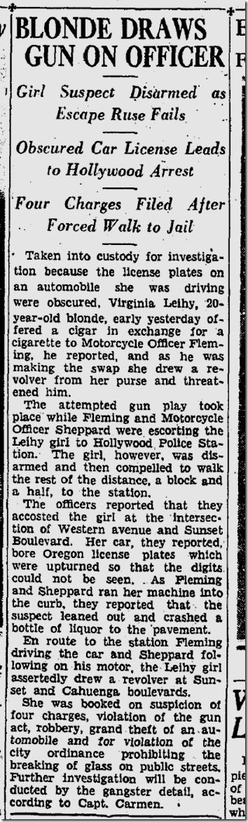 Sept. 18, 1933, Blonde With Gun