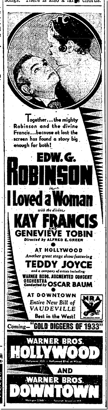 Sept. 18, 1933, I Loved a Woman