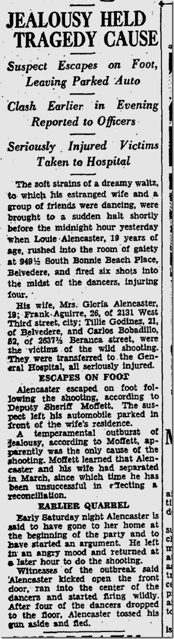 Sept. 18, 1933, Jealousy Shooting