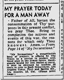 Aug. 21, 1943, Prayer