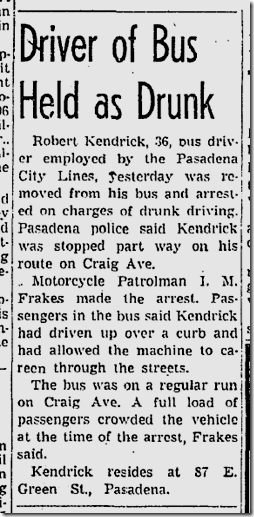 Sept. 19, 1943, Drunk Bus Driver