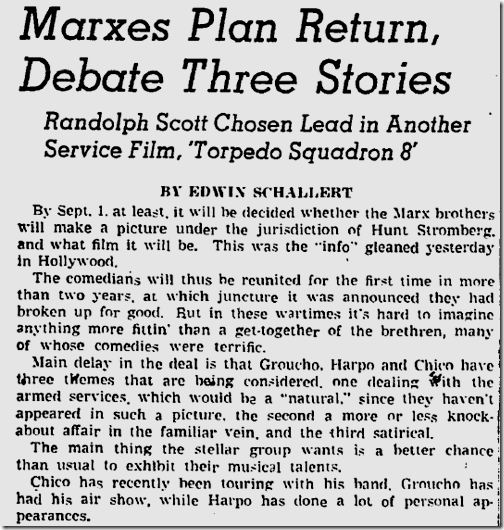 Aug. 21, 1943, Marx Bros.