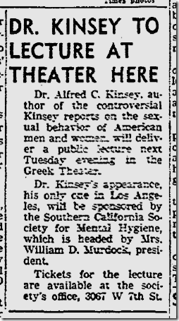 Aug. 22, 1953, Kinsey Lecture