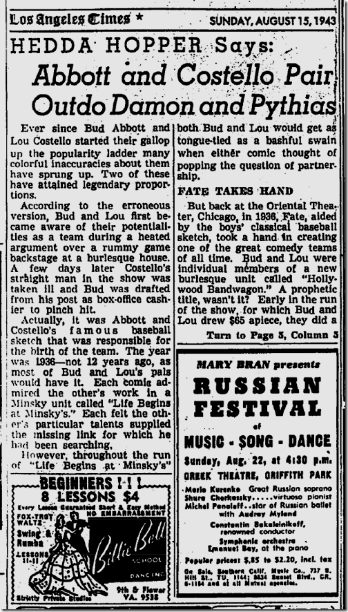 Aug. 15, 1943, Hedda Hopper
