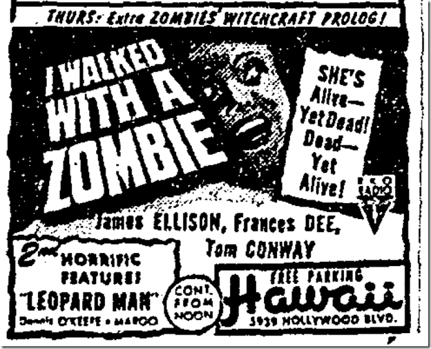 Aug. 29, 1943, I Walked With a Zombie