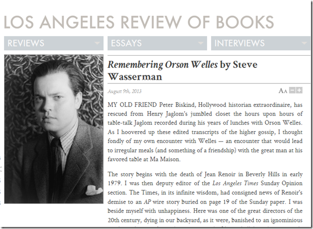 Steve Wasserman, Remembering Orson Welles