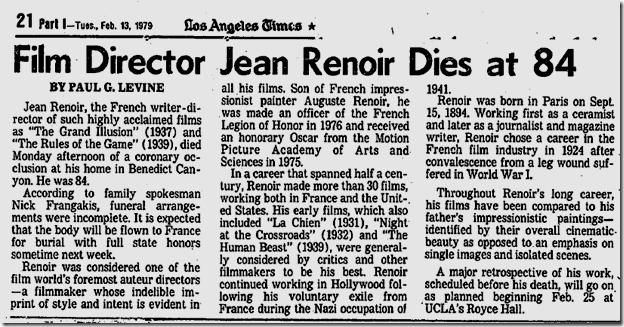 Feb. 13, 1979, Jean Renoir