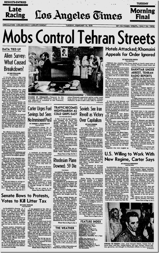 Feb. 13, 1979, Front Page