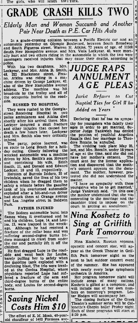 Sept. 4, 1933, Streetcar Crash