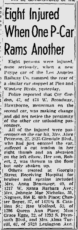 Aug. 29, 1943, Streetcar Crash