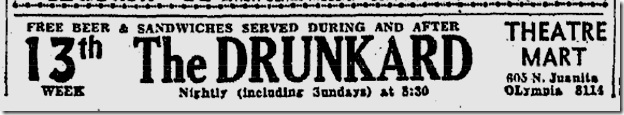 Sept. 33, 1933, The Drunkard
