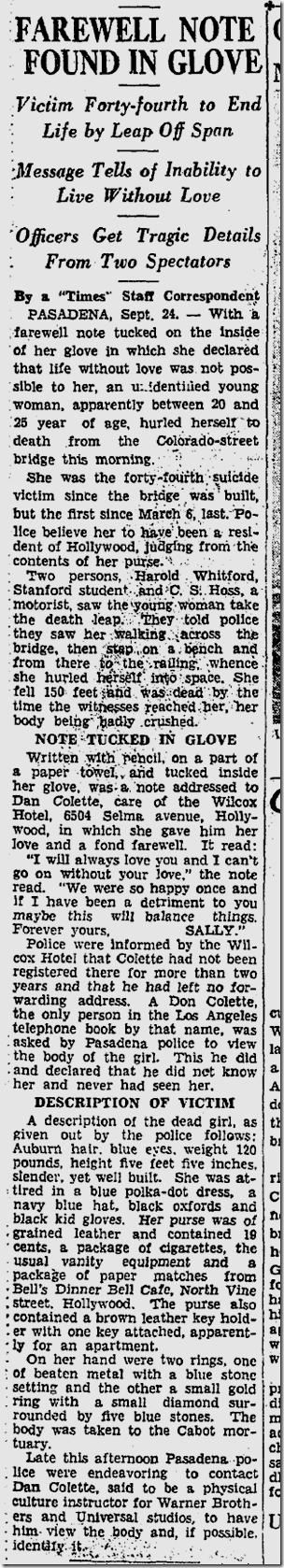 Sept. 25, 1933, Suicide