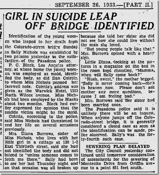 Sept. 26, 1933, Suicide