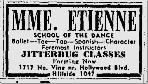 Sept. 26, 1943, Jitterbug Classes
