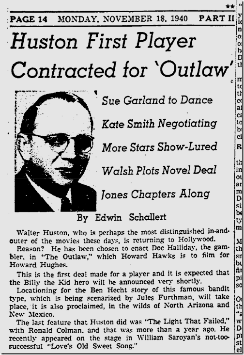 Nov. 18, 1940, 'The Outlaw'